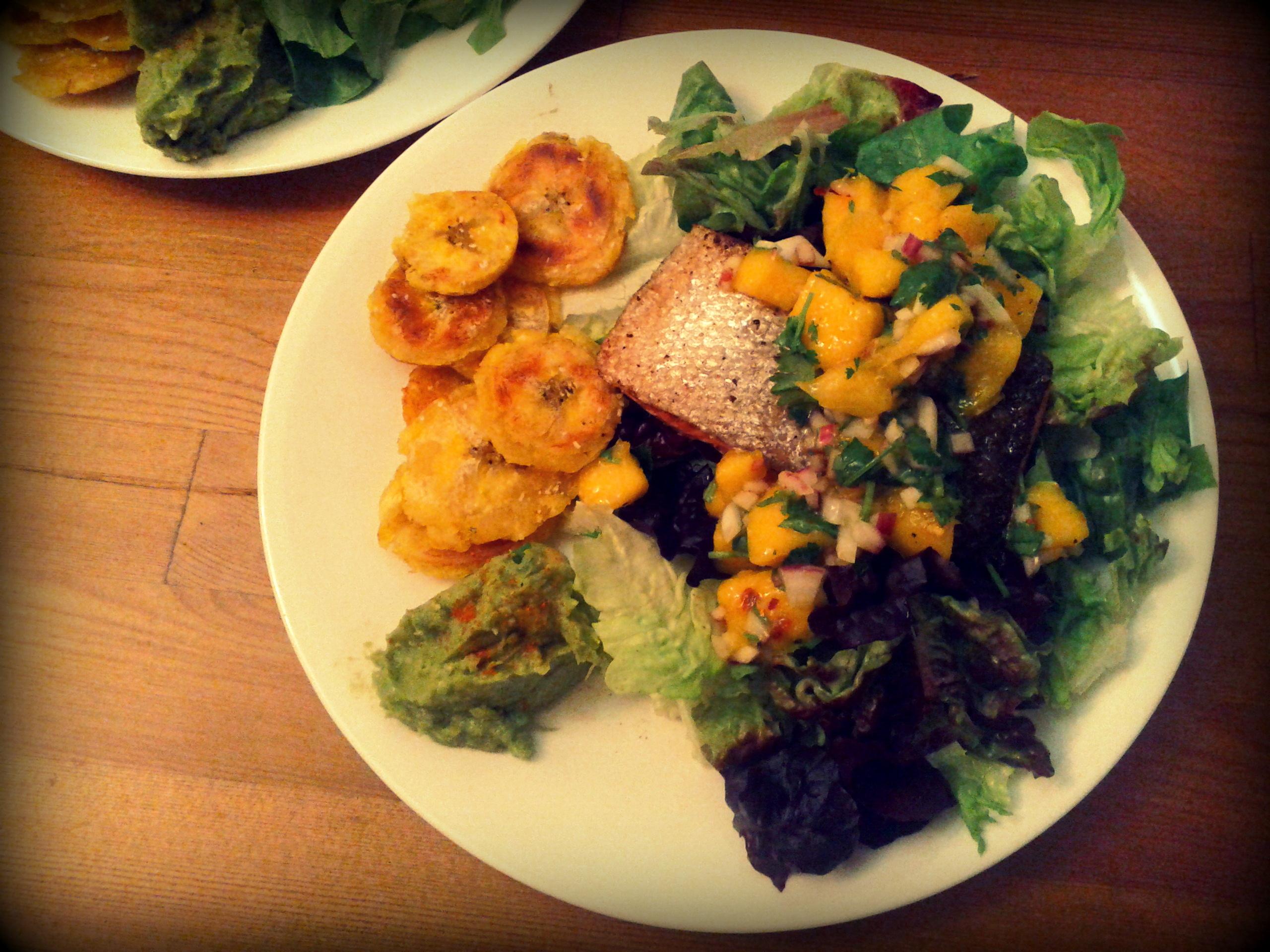 Jerk Salmon With Tostones Solidarity Eats
