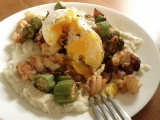 "Okra Hash with Shrimp and ""Grits"""