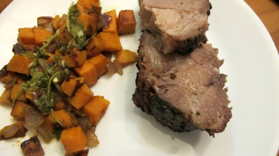 Pork Shoulder Roast with Sweet Potatoes and Cilantro Dressing