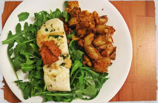 Seared Turbot on Arugula with Romesco and Romesco Potatoes 2