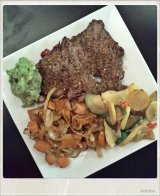 WLC Meal: Skirt Steak with Guacamole, Roasted Root Vegetables, and Sauteed Summer Squash