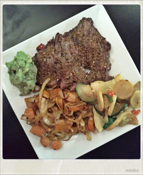 Skirt Steak with Guacamole, Roasted Root Vegetables, and Sauteed Squash